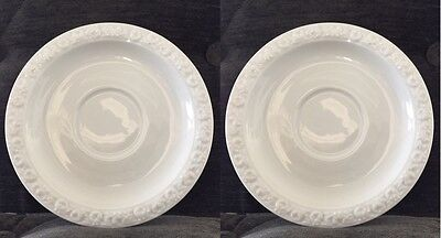 """Set of 2 Rosenthal MARIA Germany White Rose Coffee Cup Saucers - 6 3/8"""""""