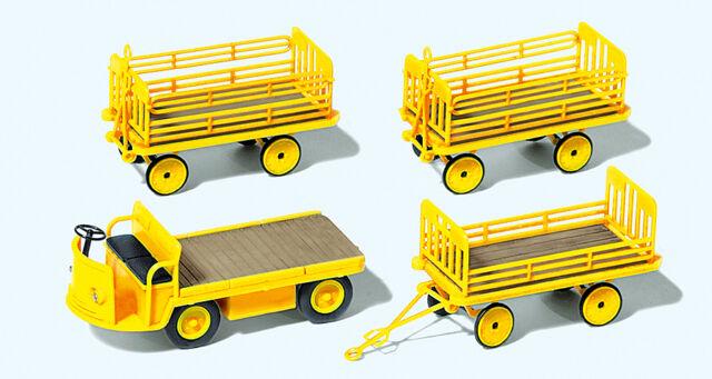 Preiser 17121 Gauge H0 Figurines, Electric cart with 3 Trailer DP # in ##