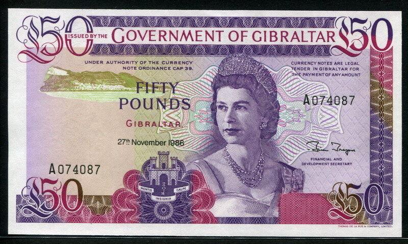 Gibraltar 1986, 50 Pounds, P24, Original UNC