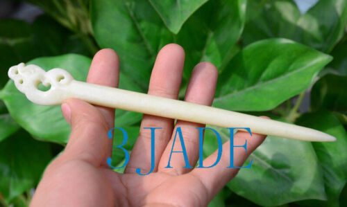 Natural Translucent Chinese Xiu Jade Hair Stick Hand Carved Serpentine Hairpin