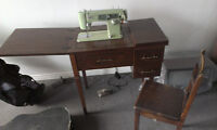 Sewing machine in desk with foot pedal & chair
