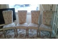 Dining Chairs 4 light brown/champagne crushed velvet with diamante studding