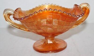 VTG Northwood Carnival Glass Iridescent Marigold 2 Handled Basket Pedestal Bowl