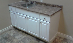 kitchen base cabinets, white
