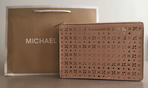MK AVA LARGE PERFORATED-LEATHER CONVERTIBLE CLUTCH