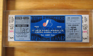 Billet des Expos match d'ouverture 1969 parc Jarry collection