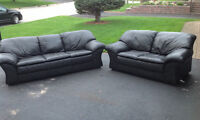 Black Leather ... Couch and Love Seat