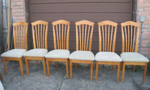 6 Large Solid Wood Dining Chairs,sturdy quality,delivery extra$$