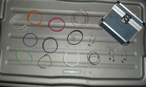 wristbands, bracelets, earrings w/ denim jewellery box