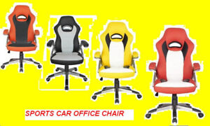 SPORTS CAR OFFICE CHAIR RED, BLACK, ORANGE & YELLOW $149 ONLY