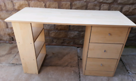 Desk with 3 drawers and 3 shelves plus swivel chair