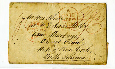 Great Britain Rare 1838 Paid Stamp-less Cover to New York for sale  Shipping to India