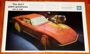 1968 CORVETTE STINGRAY GETTING PAINTED VINTAGE AD - ANONCE RETRO