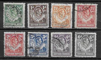 NORTHERN RHODESIA , 1938/52 , GEORGE VI , SET OF 8 STAMPS ,  PERF , USED
