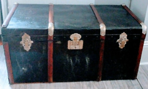 Antique Steam Trunk Coffee Table Industrial Wood