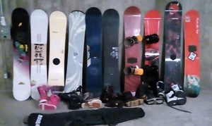 199$4all10 snowboards 8 pairs of boots with 3 sets of bindings