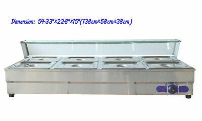 8 Pans Hot Well Bain-marie Buffet Steam Table Food Warmer Sneeze Guard 110v