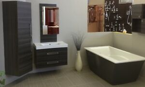 Vanity, linen, wall cabinet and mirror