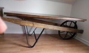 Wheelbarrow Coffee Table Hardwood  Cast Iron Accent Table