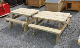 Kids size wooden picnic tables