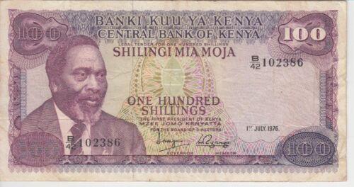 Kenya Banknote P14c-2386 100 Shillings 1.7.1976, Prefix B/42, F- VF