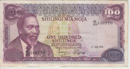 Kenya Banknote P14d-6776 100 Shillings 1.7.1976, Prefix B/43, F- VF