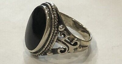 Chunky Sterling Silver Oval Black Onyx Ring Size K