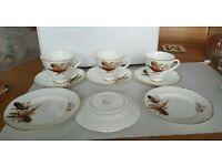 Royal Tara pheasant cups, saucers and cake plates x 3