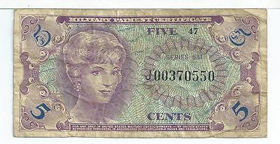 Replacement Note Military Payment Certificate MPC Series641  5 cents 550