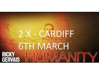 Ricky Gervais Humanity Ticket x 2| Cardiff | Mon 06 Mar 7:30 pm start. Block 7| face value £32.85 ea