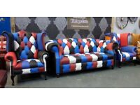 Stunning NEW Chesterfield 3 Seater Sofa & 2 Wing Back Chairs in Multi Coloured Leather - UK Delivery