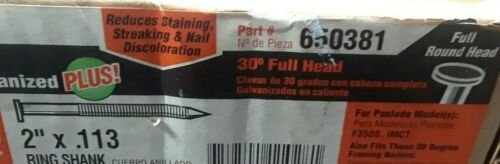 "Paslode Nails 30 Deg, Full head, 2"" x .113  Galvanized Ring Shank,  4 Strips"