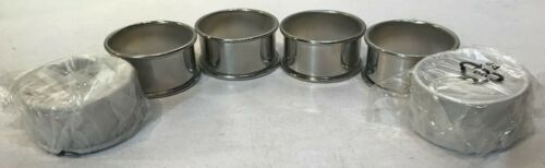 Vintage Style Set of 6 Rolled Edge Round Silverplate Napkin Rings Excellent