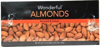1 Box Wonderful Almonds 2.25 LBS Roasted & Salted 24 1.5 Oz Bags BB 6/2020