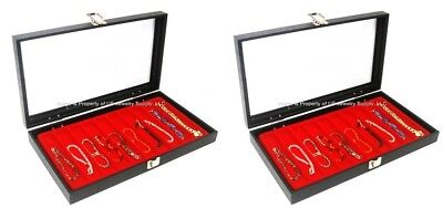 2 Glass Top Lid Red 10 Slot Jewelry Pen Pocket Knife Organizer Display Cases