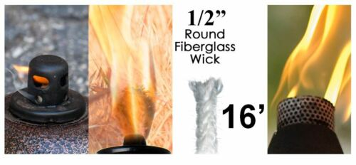 1/2 Round Fiberglass Wick 16 Feet Kerosene Lamp Tiki Torch Bottle Oil Candle USA