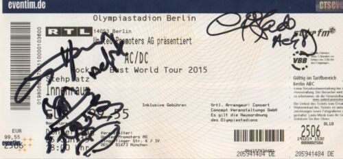 "AC/DC ""Angus Young mit Devil"" Autogramme signed Ticket Berlin 2015"
