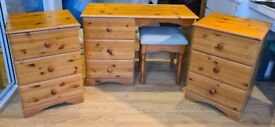 Solid Pine Furniture Set - 2 × Bedside / Side Tables & Dressing Table with Stool