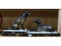 An Art Deco Spelter and marble group of two Alsatians circa 1930s length=66cm