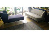 Shale Grey Elgar 2 Seater Sofa, Elderberry Purple Elgar Chaise Lounge