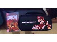 Doom game and Mario kart carry case for switch