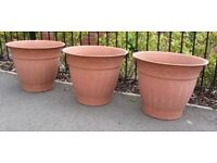 Set of Three Very Large Planters.