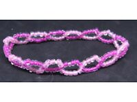 Seed Bead Bracelet 11 Lined Bright Mauve Luster Light Pink (D4) Elasticated