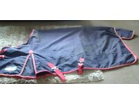 5'9 No Fill Turnout Rug - Made by Asker - Blue with red trim and straps.