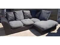 Black And Grey Corner Sofa In Good Condition £275 (Can Deliver)