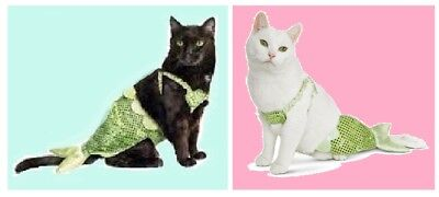 """PetCo Bootique""""Mermaid""""XS/S Dog CAT Halloween Costume Green Shell Tail O/S NEW"""