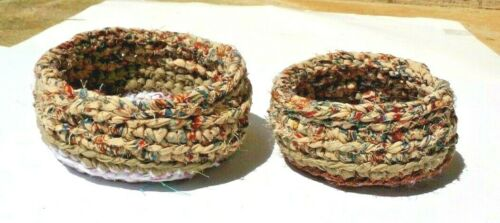 SET OF TWO     CROCHETED VINTAGE FABRIC RAG BASKETS      by  BONNIE-D