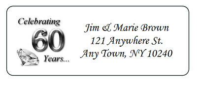 60th Anniversary Favors (60 Personalized 60th Anniversary Return Address Labels Favors)
