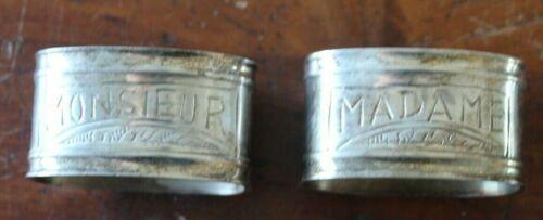 """Pair of  """"Monsieur"""" & """"Madame"""" Silverplated Napkin Rings"""