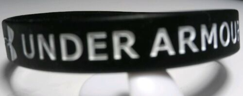 """BLACK with White Print Under Armour Silicone Bracelets 5/16"""" Wide - US Seller!!!"""